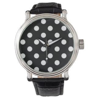 Svartvit polka dots armbandsur