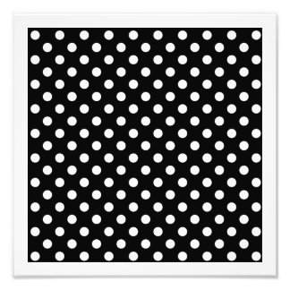 Svartvit polka dots fototryck
