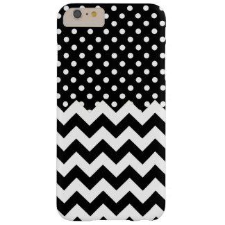 Svartvit polka dots och sparrar barely there iPhone 6 plus fodral