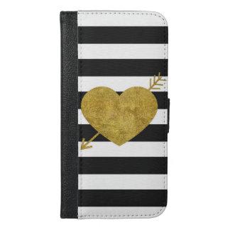 Svartvit randig pilhjärta iPhone 6/6s plus plånboksfodral