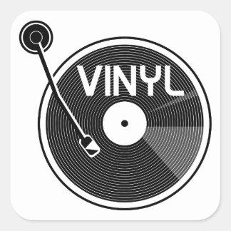 Svartvit rekord- Turntable för vinyl Fyrkantigt Klistermärke