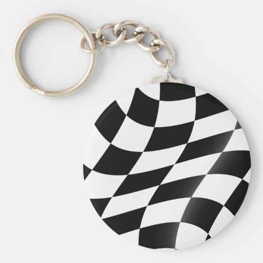 Svartvit rutig flagga Keychain Rund Nyckelring