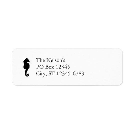 Svartvit Seahorse Returadress Etikett