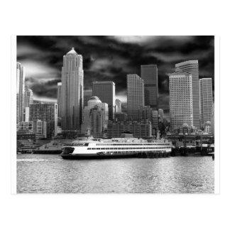 svartvit seattle horisont vykort