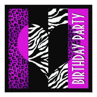 Svartvit sebra för djur Leopard för tryck Fyrkantigt 13,3 Cm Inbjudningskort