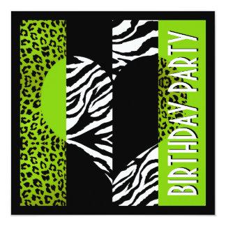 Svartvit sebra för djur tryckgröntLeopard Fyrkantigt 13,3 Cm Inbjudningskort