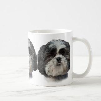 Svartvit Shih Tzu hund Kaffemugg