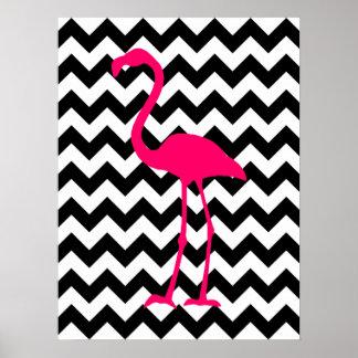 Svartvit sicksack för ljus rosa Flamingo Affisch