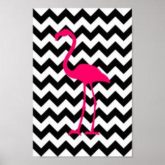 Svartvit sicksack för ljus rosa Flamingo Poster