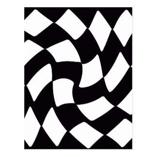 Svartvit skev schackbräde vykort