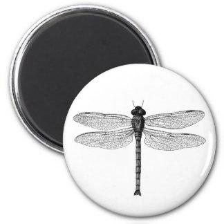 Svartvit sländaillustration för vintage magnet rund 5.7 cm