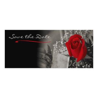 Svartvit spara för elegant röd ros datera 10,2 x 23,5 cm inbjudningskort