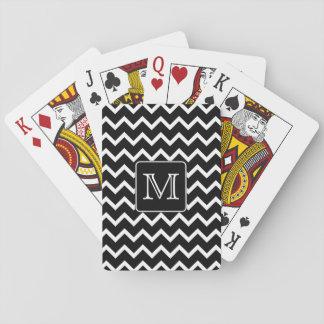 Svartvit sparre med den beställnings- monogram.en spel kort