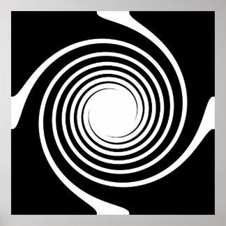 Svartvit spiral design poster