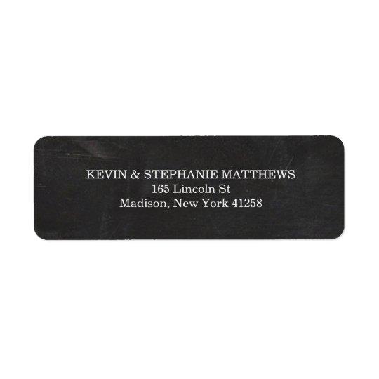 Svartvit svart tavla returadress etikett