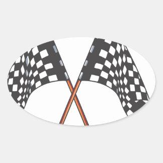 Svartvit tävlings- flagga för klassiker ovalt klistermärke
