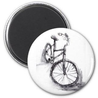 Svartvit teckning av cykeln magnet rund 5.7 cm