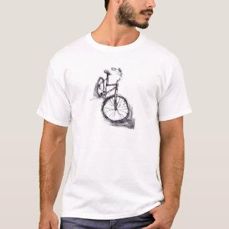 Svartvit teckning av cykeln tee