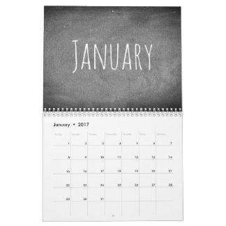 Svartvit text 2017 för svart tavlakalender kalender