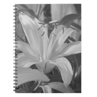 Svartvit tigerliljaanteckningsbok anteckningsbok med spiral