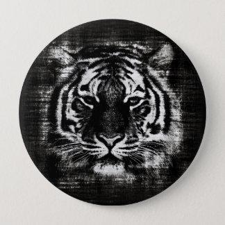 Svartvit tigervintage knäppas stor knapp rund 10.2 cm