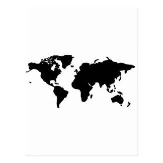Svartvit världsillustration vykort