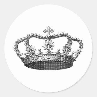 Svartvit vintagekrona runt klistermärke