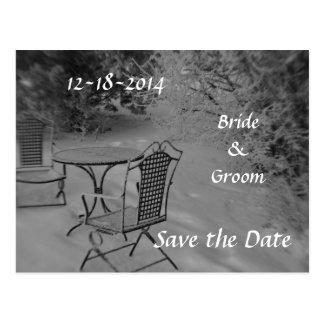 Svartvit vinterbröllop spara datum vykort