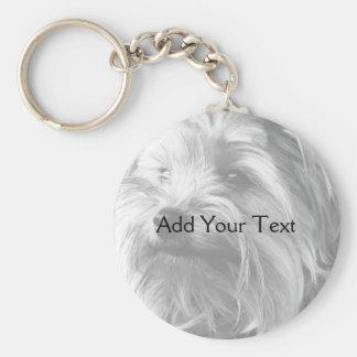 Svartvit Yorkshire Terrier Yorkie Rund Nyckelring