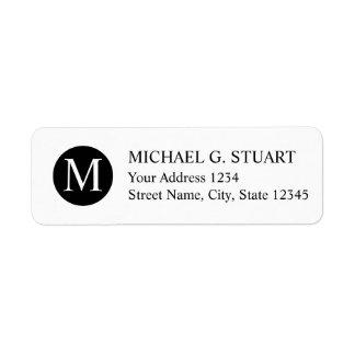 Svartvit yrkesmässig Monogram Returadress Etikett