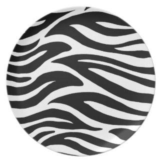 Svartvit zebra ränder tallrik
