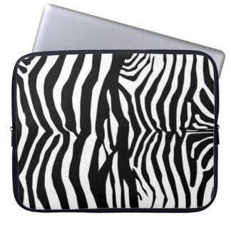 Svartvit zebra ränderlaptop sleeve datorfodral