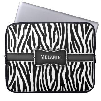 Svartvit zebra ränderlaptop sleeve datorskydds fodral