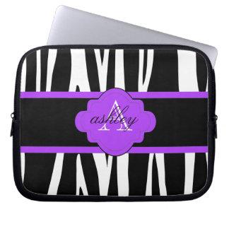 Svartvit zebra trycklaptop sleeve datorfodral