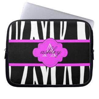 Svartvit zebra trycklaptop sleeve datorskydds fodral