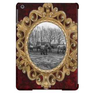 Svartvita belgiska hästar i en beta iPad air fodral