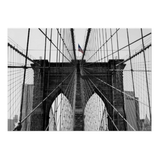 Svartvita Brooklyn överbryggar w-/Colorflagga Posters