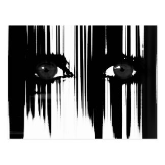 Svartvita dramatiska ögon vykort