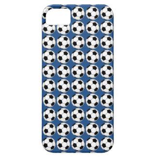 Svartvita fotbollbollar på blåttiphone case iPhone 5 cover