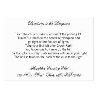 Svartvita kort för bröllopriktningsbilaga set av breda visitkort