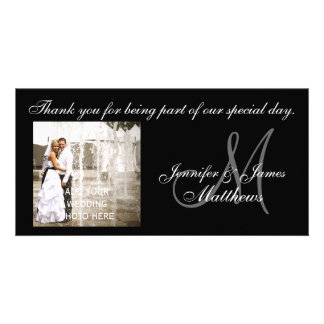 Svartvita kort för brölloptackMonogram Fotokort