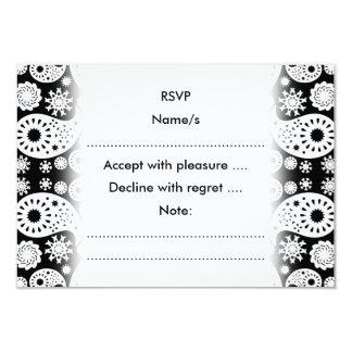 Svartvita Paisley. 8,9 X 12,7 Cm Inbjudningskort