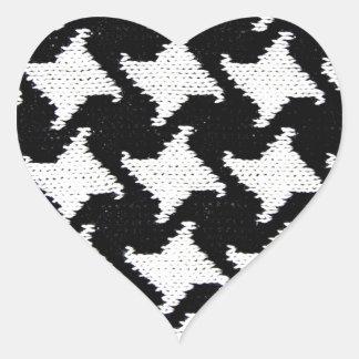 Svartvita Pepita Hjärtformat Klistermärke