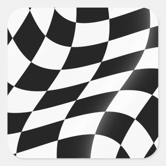 Svartvita rutiga flaggaklistermärkear fyrkantigt klistermärke