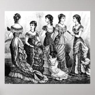 Svartvita Victorianmodeer Poster