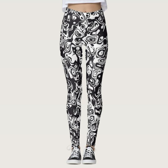 Svartvitt abstrakt mönster leggings