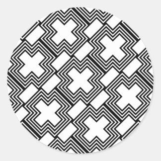 Svartvitt argt Minimalist geometriskt Runt Klistermärke