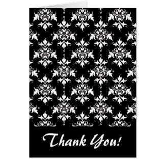 Svartvitt blom- damastast mönster OBS kort