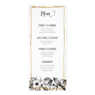 Svartvitt blom- menykort för Glam glitter Reklamkort