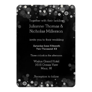 Svartvitt Bokeh bröllop 12,7 X 17,8 Cm Inbjudningskort